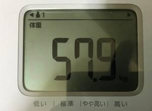 第6回断食回復食2日目体重57.8㎏