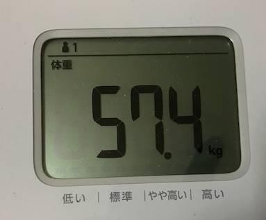第6回断食回復食3日目体重57.4㎏
