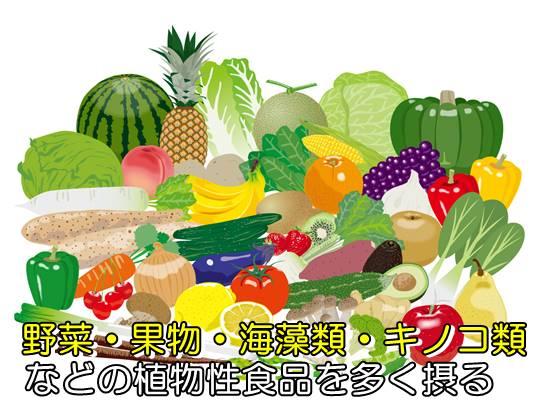 野菜・果物・海藻類・キノコ類を多く食べる