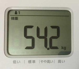 第8回断食ダイエット7日目体重54.2㎏